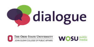 Dialogue logo - The Ohio State University John Glenn School of Public Affairs and WOSU Public Media