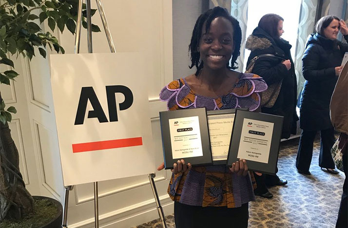 89.7 NPR News Reporter Adora Namigadde with her AP awards.