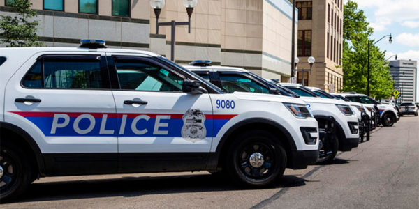 Police vehicles parked in front of Columbus Division of Police headquarters. DAVID HOLM / WOSU