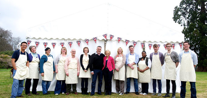 The Great British Baking Show's Season 5 Contestants, along with judges Mary Berry and Paul Hollywood.