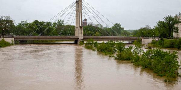 The Lane Avenue bridge near Ohio State on Tuesday, May 19, 2020. DAVID HOLM / WOSU