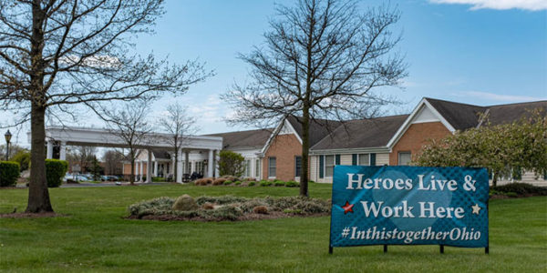 A sign at the Mill Run nursing home in Hilliard. RYAN HITCHCOCK / WOSU