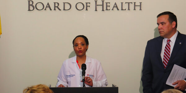 Columbus Public Health commissioner Dr. Mysheika Roberts announcing the city's state of emergency in March 2020.