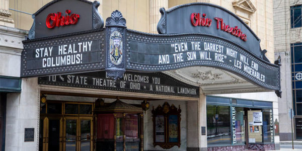 The marquee on the Ohio Theatre in April 2020. DAVID HOLM / WOSU