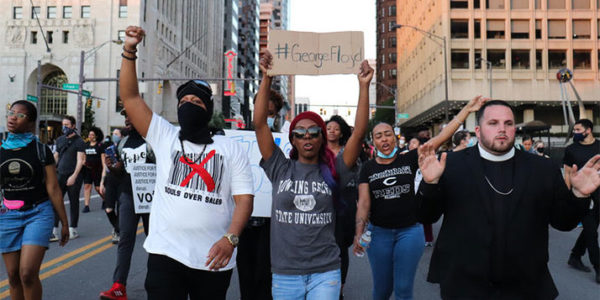 Protesters march in downtown Columbus on June 2, 2020. PAIGE PFLEGER / WOSU