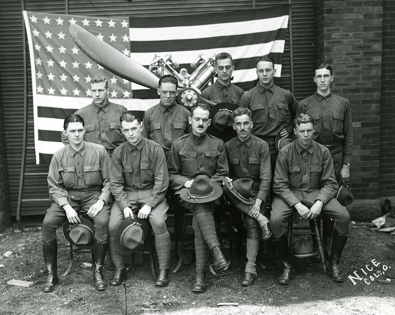 The First Squadron of the School of Aeronautics at OSU during WWI.
