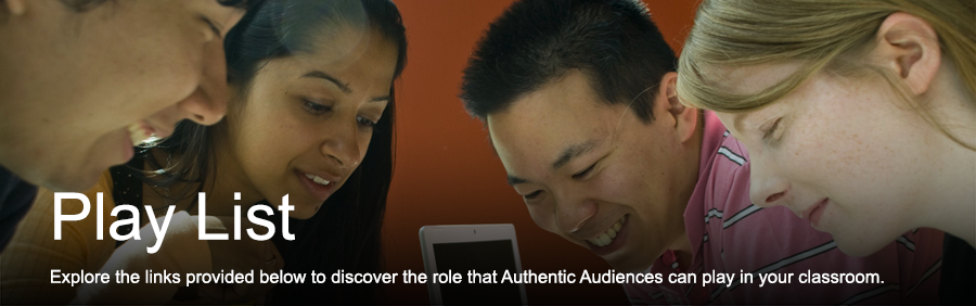 Play List: Explore the links provided below to discover the role that Authentic Audiences can play in your classroom.