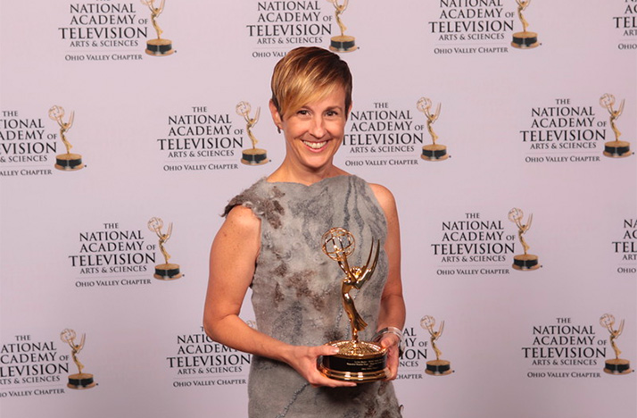 Jackie Shafer,   producer and editor of  Broad & High with her 2018 Ohio Valley Emmy Award.