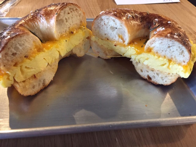 An egg sandwich at Lox Bagel Shop in the Short North. Photo: Steve Stover