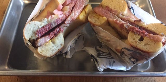 The pastrami sandwich with Swiss Cheese at Lox Bagel Shop in the Short North. Photo Steve Stover.