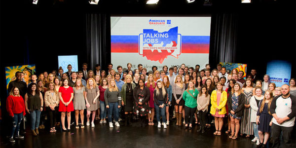 Patricia Harrison, President and CEO of the Corporation for Public Broadcasting, is pictured with students from across Ohio as WOSU co-produced a gubernatorial candidate digital forum last October.