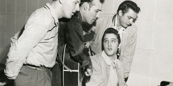 Jerry Lee Lewis, Carl Perkins, Elvis Presley,and Johnny Cash at the Sun Records studio in Memphis, 1956.