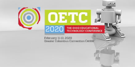 OETC logo with robot in background