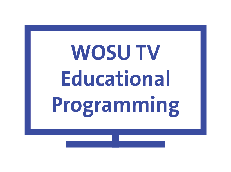"Line image of a TV with the words ""WOSU TV Educational Programming"" on the screen."