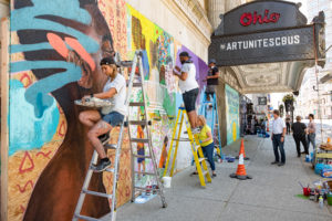 A diverse collective of Columbus-based visual artists created murals on the plywood installed over the broken windows in response to the Black Lives matter protest movement. #ArtUnitesCbus