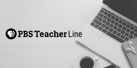Image of a laptop and coffee sitting on a desk. The logo for PBS Teacher Line is laid over the image.