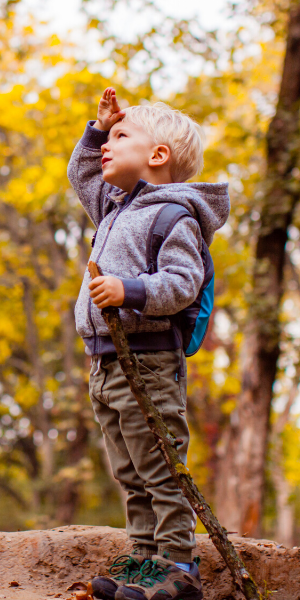 Young child out on a hike