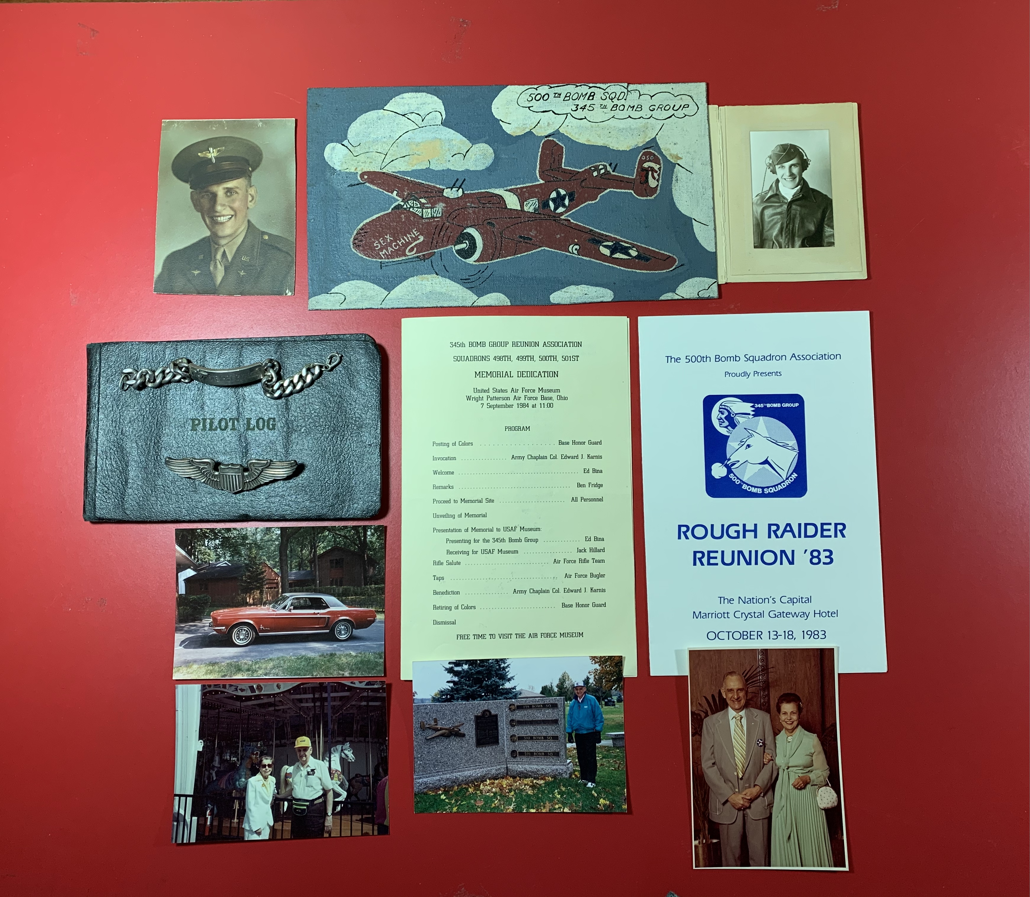 Top, center: Hand-drawn depiction of a B-25 Bomber. Top, left and right: Photos of Stewart during flight training. Middle, left: Stewart's wings, identification bracelet, Pilot Log and a photo of his Ford Mustang. Bottom, left: Stewart and Bernice attending the 1992 AmeriFlora event in Columbus. Bottom, center: Stewart attending his group's Memorial Dedication at Wright Patterson Air Force Base September 7, 1984. Bottom, right: Stewart and Bernice attending a reunion in Washington, D.C. in 1983.