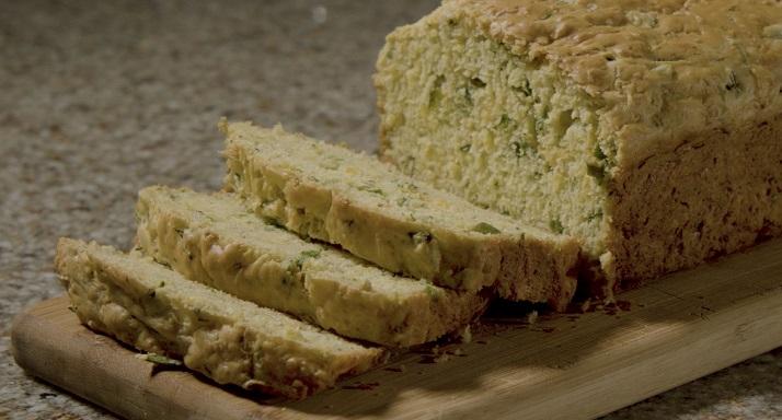 A loaf of Zucchini Cheddar Bread