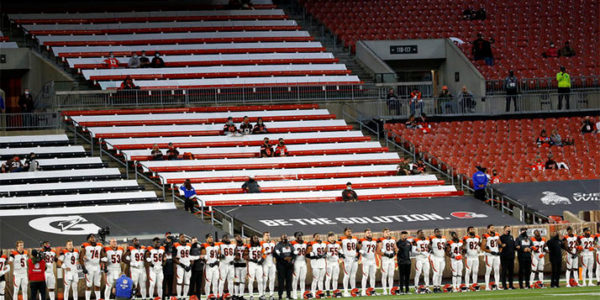 Just 6,000 spectators were allowed in the stands for the Cleveland Browns-Cincinnati Bengals game on Sept. 17, 2020 in Cleveland. KIRK IRWIN / ASSOCIATED PRESS