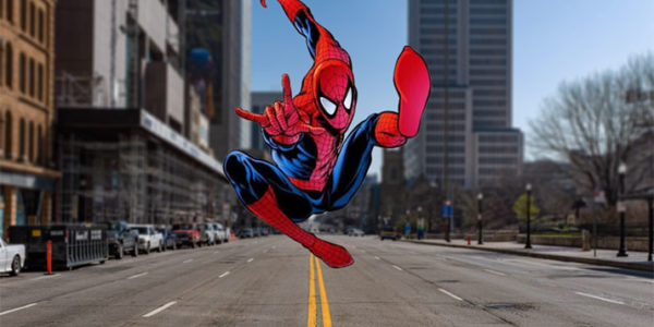 SpiderMan leaping on Broad Street in Columbus RYAN HITCHCOCK, MICHAEL DE BONIS / WOSU