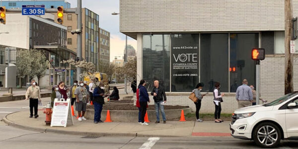A line of people at the Cuyahoga County Board of Elections during the 2020 spring primary. GABRIEL KRAMER / IDEASTREAM