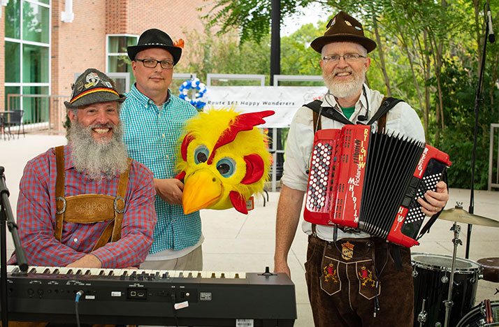 The Route 161 Happy Wanderers consist of Route 161 Happy Wanderers, from left, Jason Greenwald (keys, backup vocals, yodeling), Vince Bellomo (drums) and Dan Wolcott (accordion).