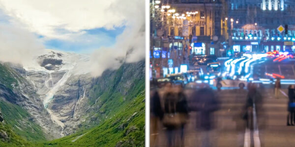 Collage of a mountain valley on the left next to a bust city street at night on the right