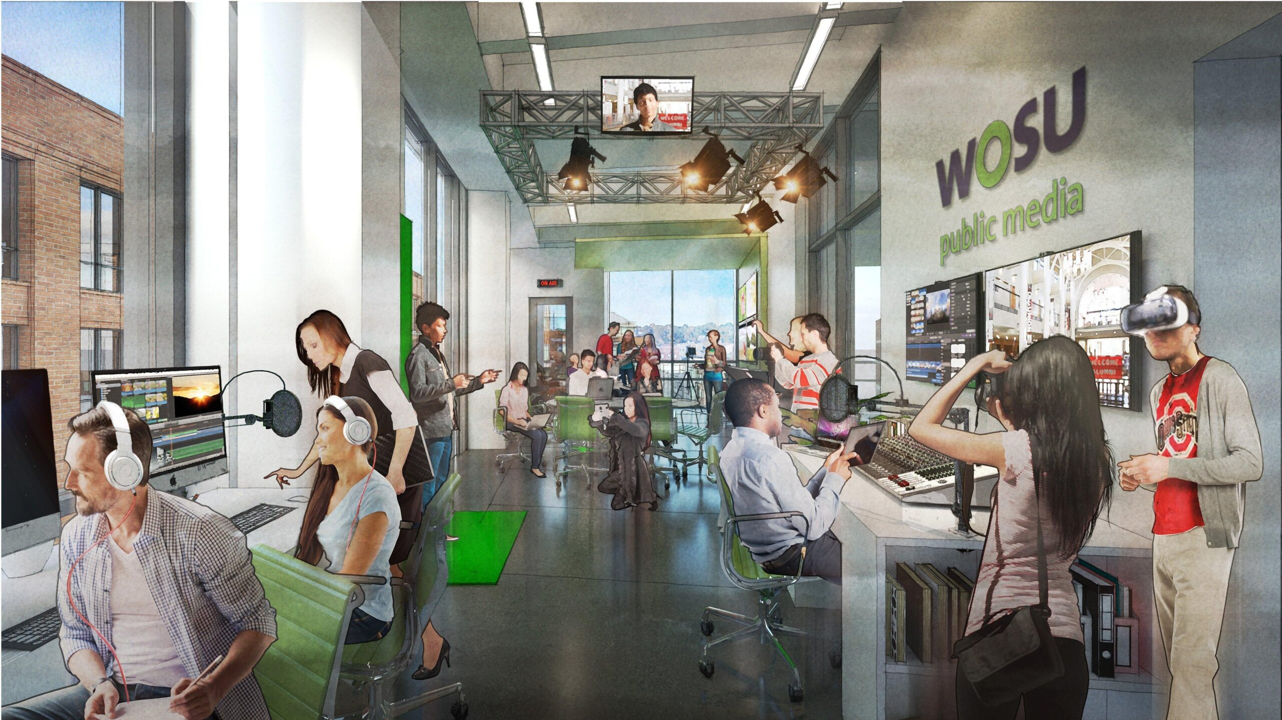 Concept image of students utilizing WOSU's new facilities